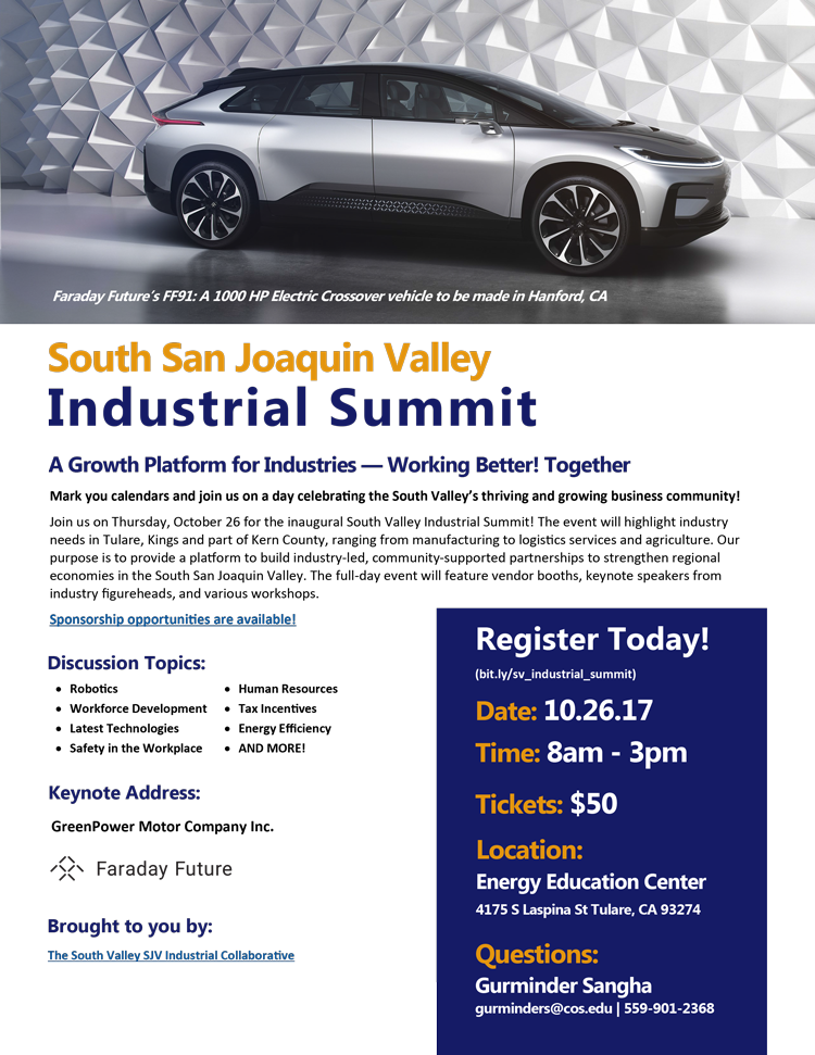South Valley Industrial Summit @ Energy Education Center | Tulare | California | United States